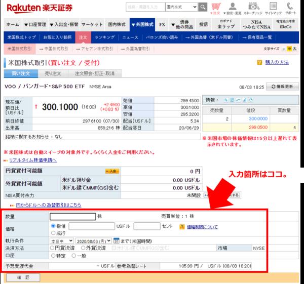 楽天証券-ETF注文画面